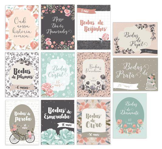 Cards Bodas de Amor P - Coleção Felizes para Sempre - JuJu Scrapbook  - JuJu Scrapbook