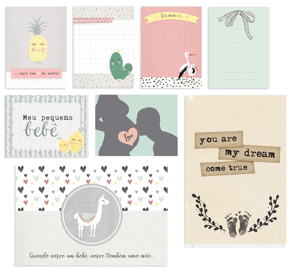 Cards Meu Pequeno Bebê - Coleção Meu Coração é Seu - JuJu Scrapbook  - JuJu Scrapbook