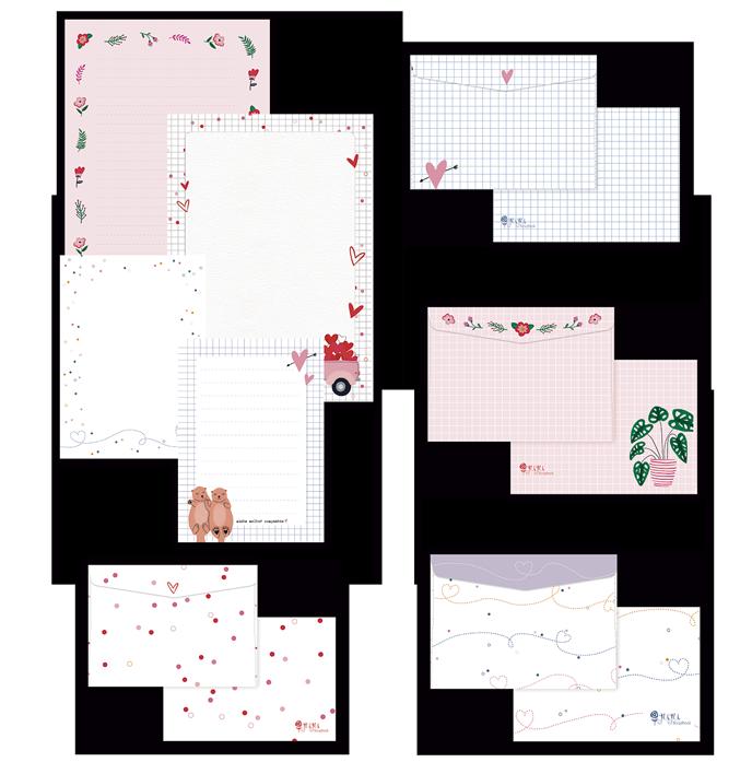 Kit de Papel de Carta - Coleção Espalhando Amor - JuJu Scrapbook  - JuJu Scrapbook