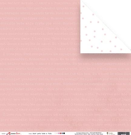 Papel Amor para toda a Vida  - Coleção Espalhando Amor - JuJu Scrapbook  - JuJu Scrapbook