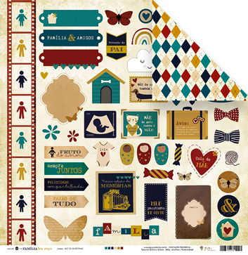 Papel Baú de Memórias - Coleção Família para Sempre - JuJu Scrapbook  - JuJu Scrapbook