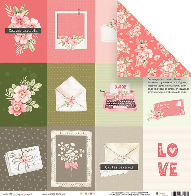 Papel Cartas para Ela - Coleção Cartas para Você - JuJu Scrapbook  - JuJu Scrapbook