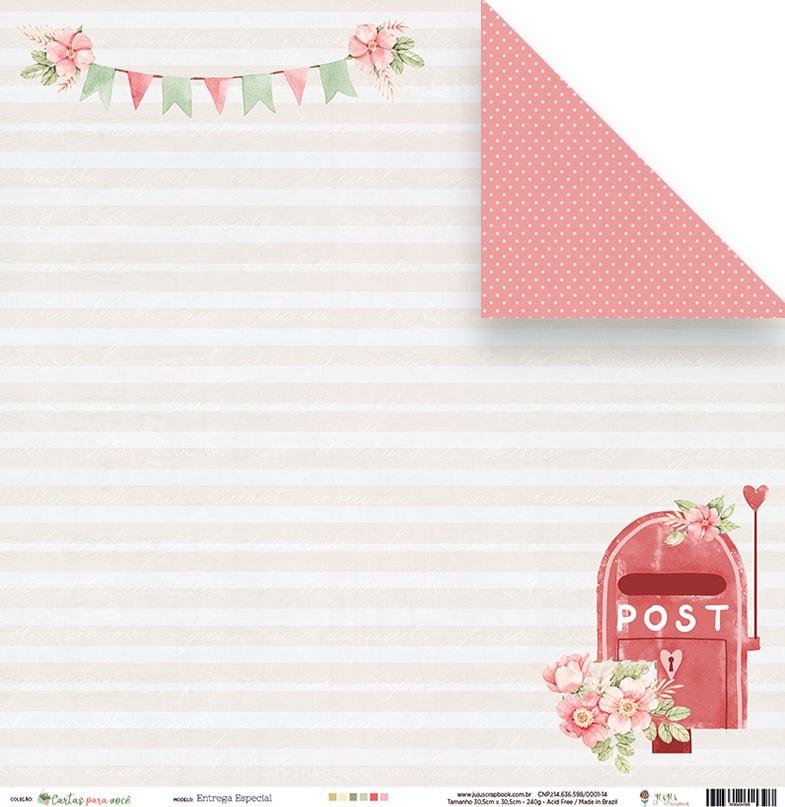 Papel Entrega Especial - Coleção Cartas para Você - JuJu Scrapbook  - JuJu Scrapbook