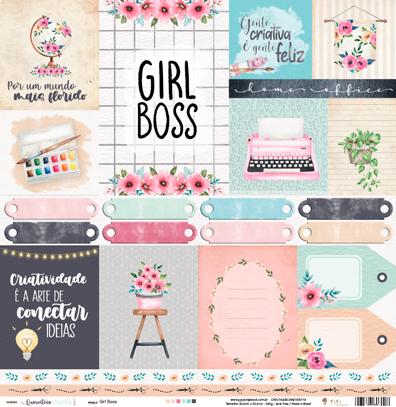 Papel Girl Boss - Coleção Quarentena Criativa - JuJu Scrapbook  - JuJu Scrapbook