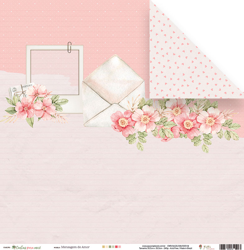 Papel Mensagem de Amor - Coleção Cartas para Você - JuJu Scrapbook  - JuJu Scrapbook