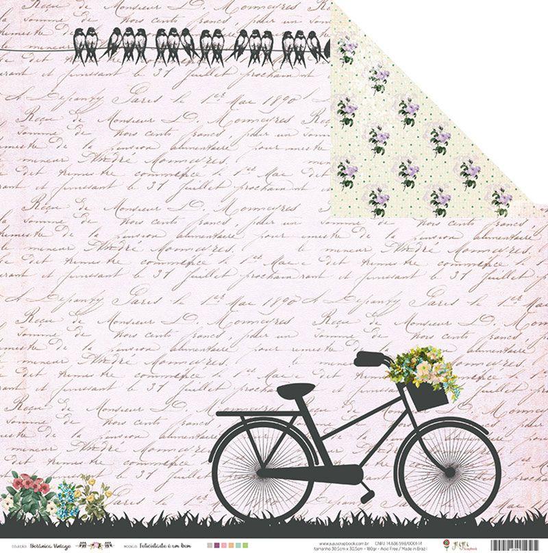 Papel Felicidade é um bem - Coleção Botânica Vintage - JuJu Scrapbook  - JuJu Scrapbook