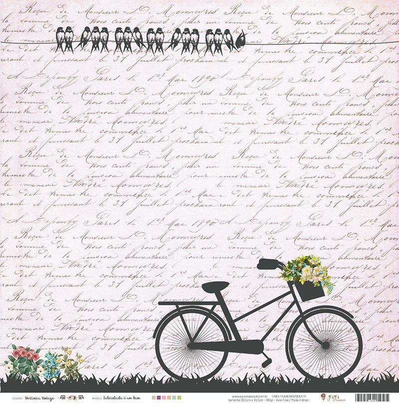 """Papel Modelo """"Felicidade é um bem"""" - Coleção Botânica Vintage / Juju Scrapbook  - JuJu Scrapbook"""
