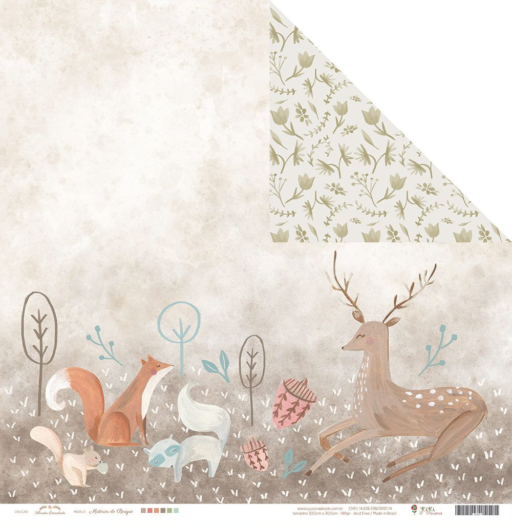 Papel Mistérios do Bosque - Floresta Encantada - JuJu Scrapbook  - JuJu Scrapbook