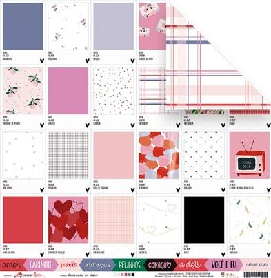 Papel Pantones do Amor  - Coleção Espalhando Amor - JuJu Scrapbook  - JuJu Scrapbook