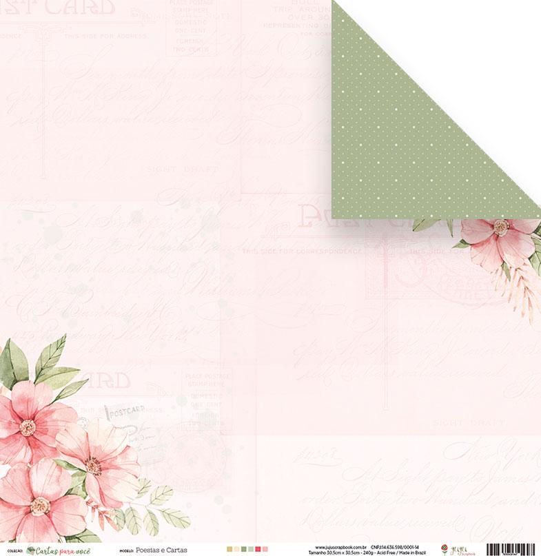 Papel Poesias e Cartas - Coleção Cartas para Você - JuJu Scrapbook  - JuJu Scrapbook