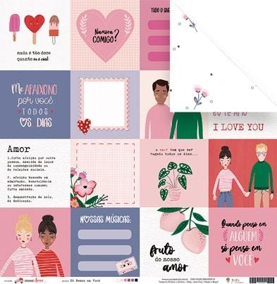Papel Só penso em Você - Coleção Espalhando Amor - JuJu Scrapbook  - JuJu Scrapbook