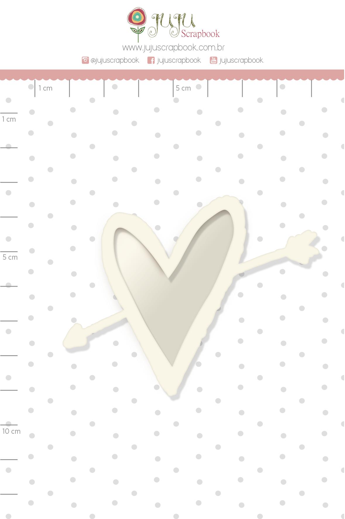 Shaker Chipboard Branco Apaixonado - Coleção Espalhando Amor - JuJu Scrapbook  - JuJu Scrapbook