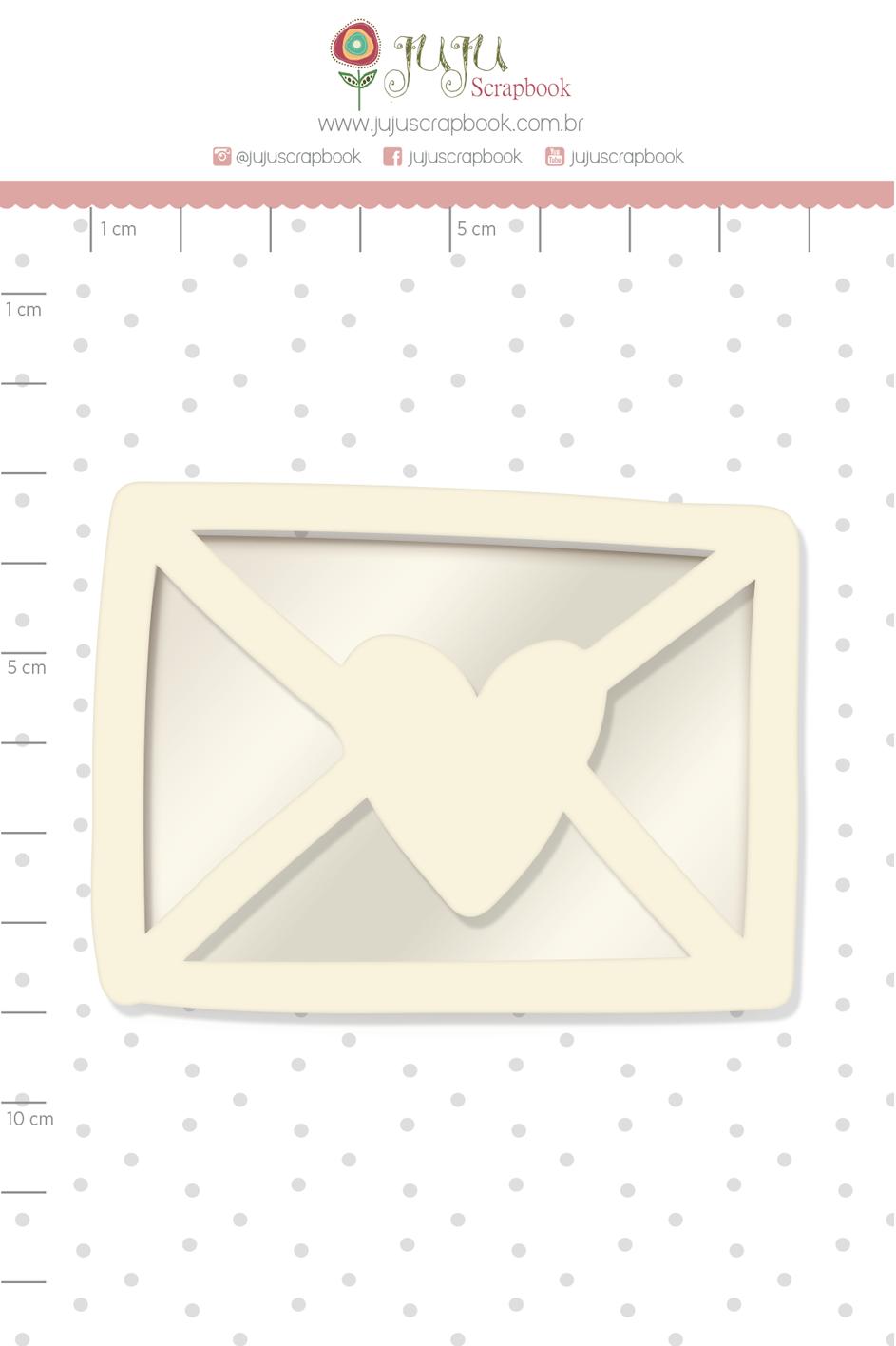 Shaker Chipboard Branco Cartinha - Coleção Cartas para Você - JuJu Scrapbook  - JuJu Scrapbook