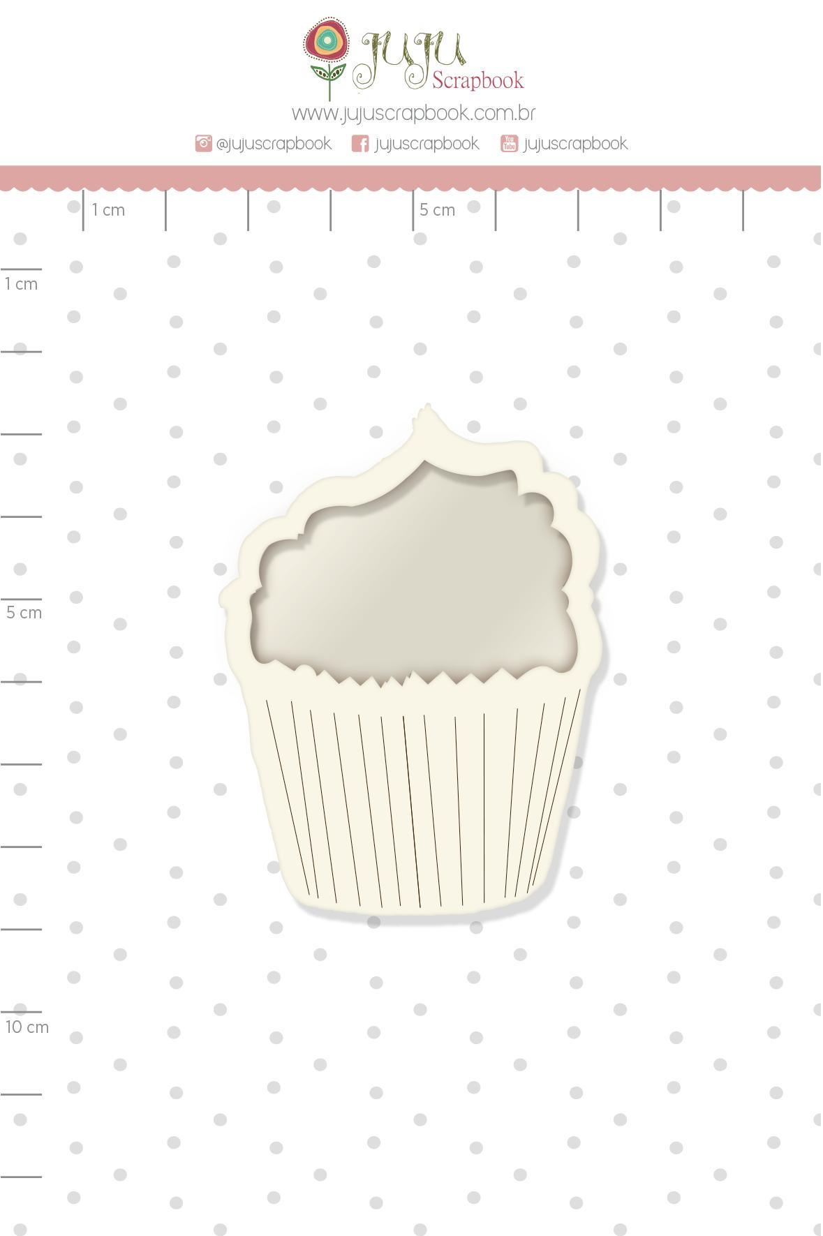 Shaker Chipboard Branco Cupcake - Coleção Espalhando Amor - JuJu Scrapbook  - JuJu Scrapbook