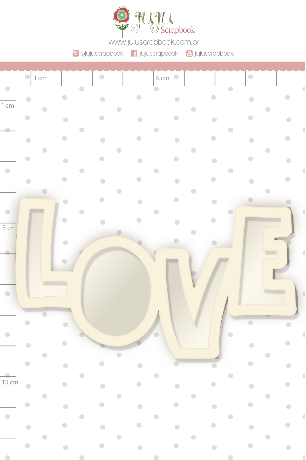 Shaker Chipboard Branco Love - Coleção Cartas para Você - JuJu Scrapbook  - JuJu Scrapbook
