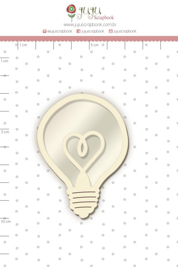Shaker Chipboard Branco Lâmpada - Coleção Quarentena Criativa - Juju Scrapbook  - JuJu Scrapbook