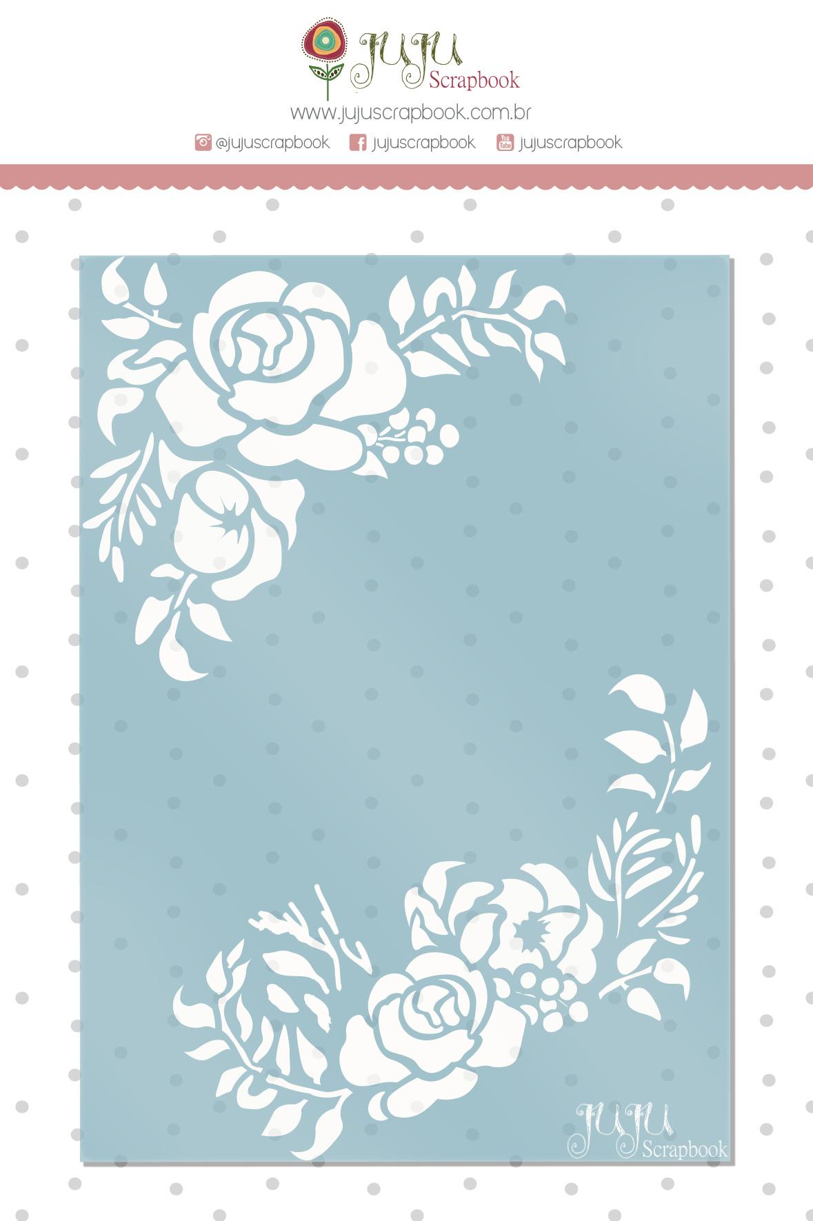 Stencil Cantoneira Floral - Coleção Sonho Meu - Juju Scrapbook  - JuJu Scrapbook