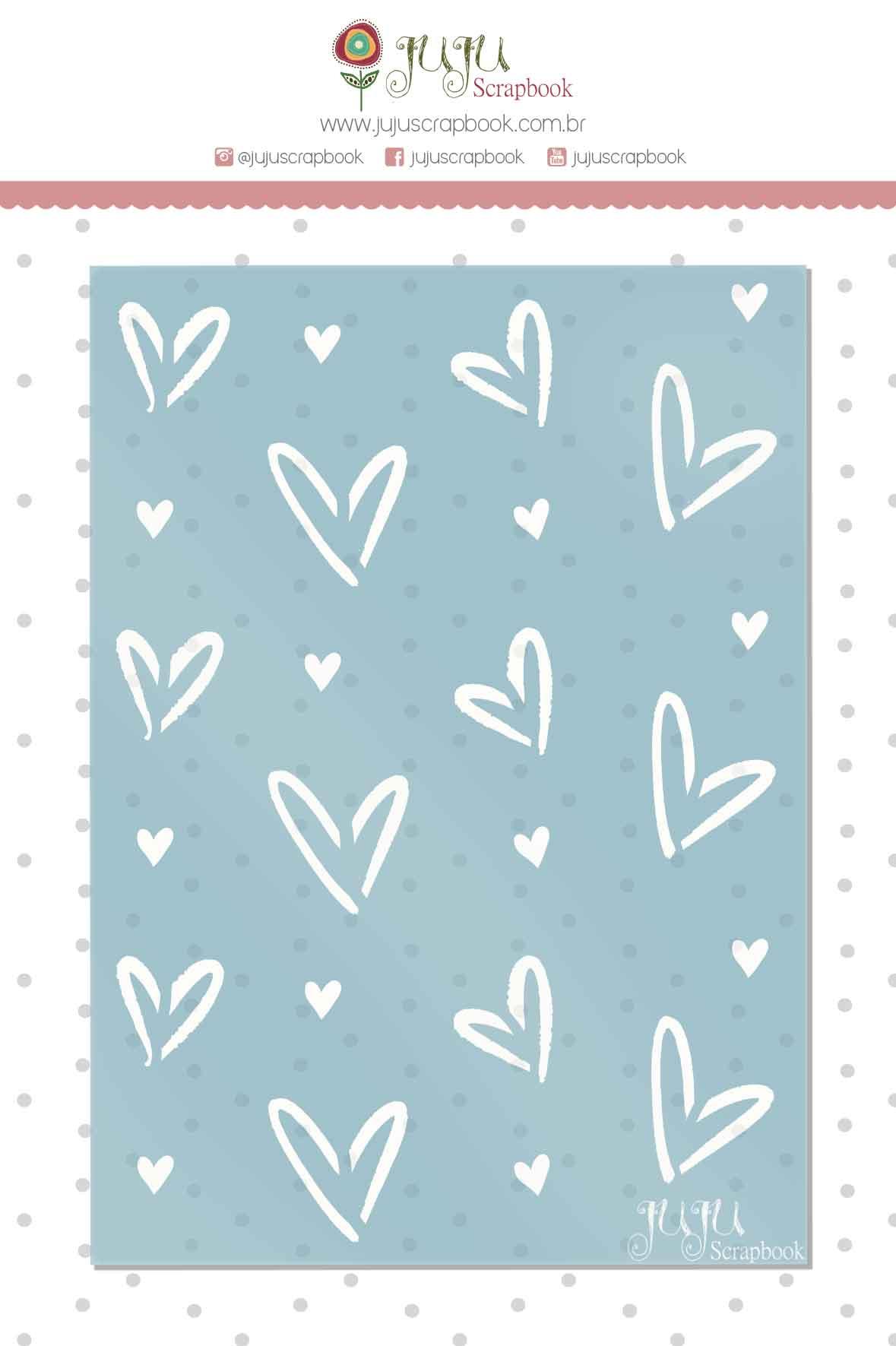 Stencil Corações - Coleção Espalhando Amor - Juju Scrapbook  - JuJu Scrapbook