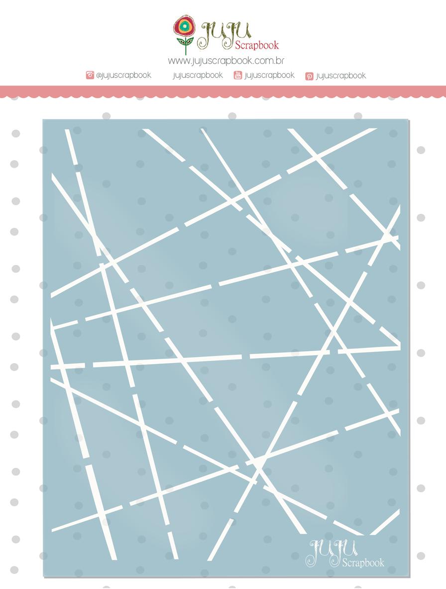 Stencil Linhas - Coleção Nosso Herói - Juju Scrapbook  - JuJu Scrapbook