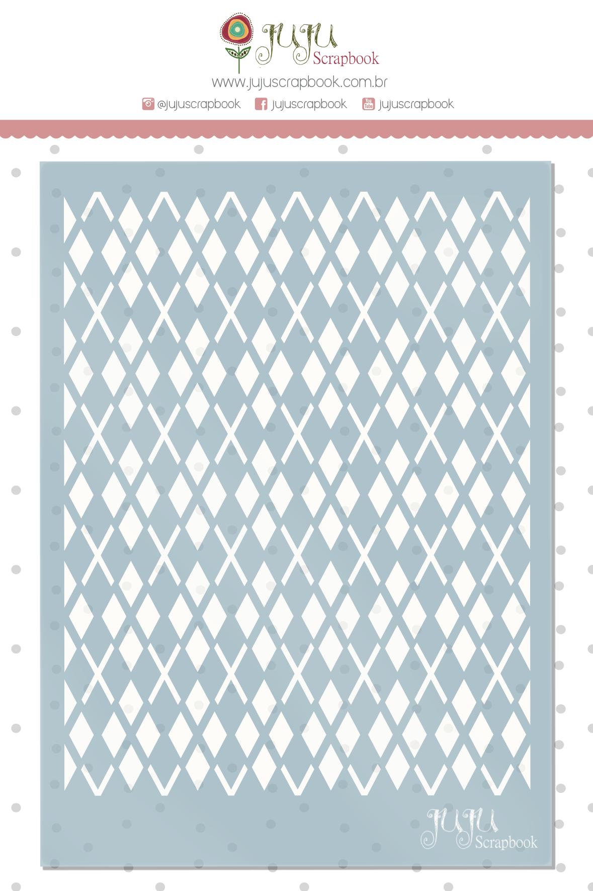 Stencil Xadrez - Coleção Família para Sempre - JuJu Scrapbook  - JuJu Scrapbook