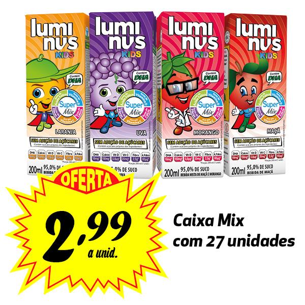 A MELHOR OPÇÃO PARA A LANCHEIRA! Luminus Kids sabores variados 200ml (27 unidades)  - Luminus Life
