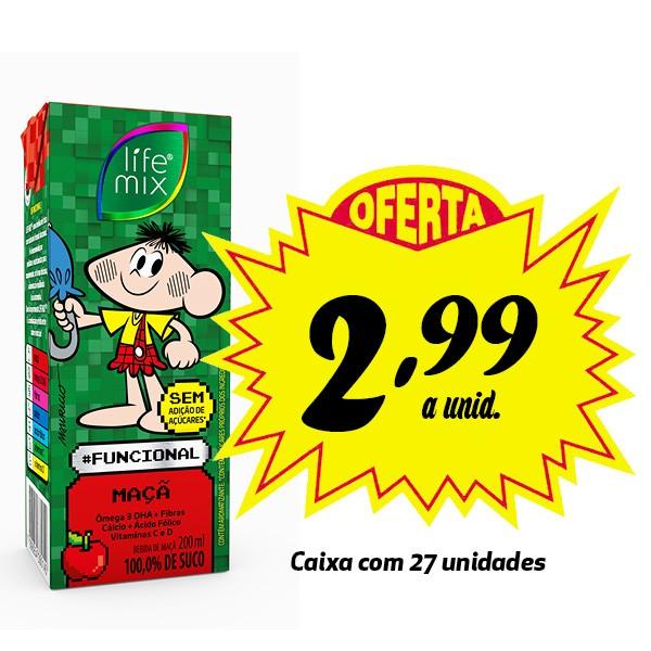 A MELHOR OPÇÃO PARA A LANCHEIRA! Bebida funcional Life Mix Kids Maçã 200ml (27 unidades)  - Life Mix