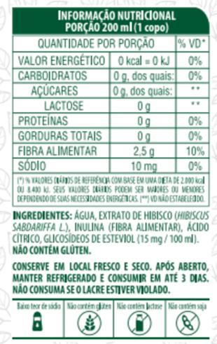 CHÁ DE HIBISCO COM FIBRAS - LIFE MIX - 200ML