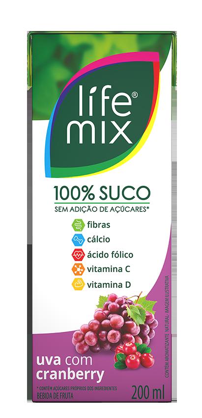 SUCO 100% SABOR UVA COM CRANBERRY - LIFE MIX - 200 ML