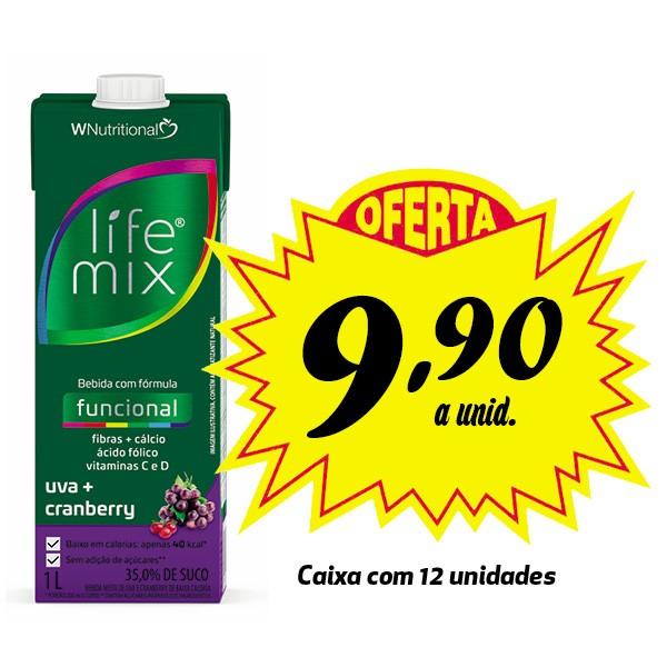 Bebida funcional Life Mix Uva + Cranberry 1L (12 unidades)  - Life Mix
