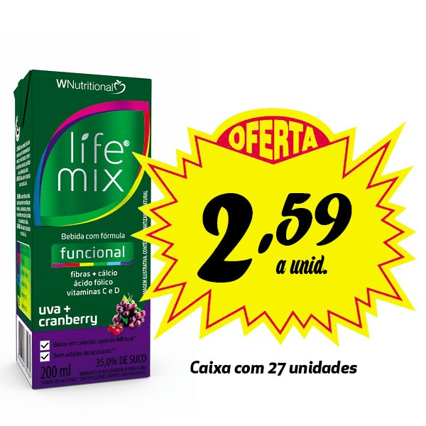 Bebida funcional Life Mix Uva + Cranberry 200ml (27 unidades)  - Life Mix