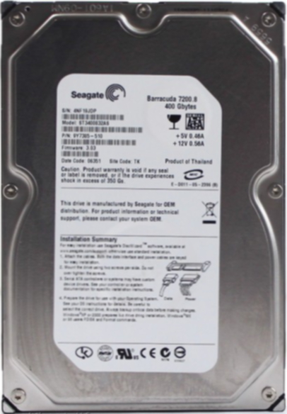 Hard Disk 400GB 7200RPM 8MB Cache Sata Barracuda ST3400832AS (refurbished) - Seagate