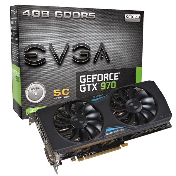 Placa de Vídeo GeForce GTX970 4GB DDR5 Superclocked+ ACX 2.0 04G-P4-2977-KR - EVGA