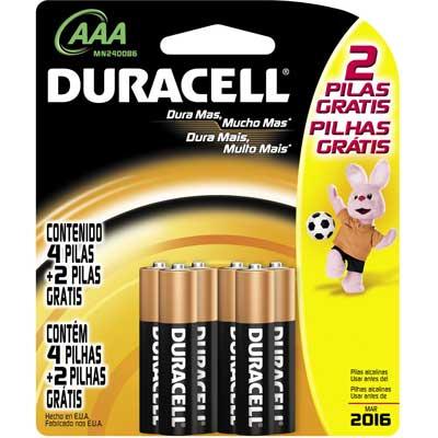 Pilha Alcalina Palito AAA 6 unidades (Leve 6 e Pague 4) Pack Promocional - Duracell