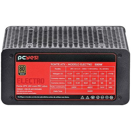 Fonte ATX 500W Electro Series 80 Plus Bronze (PFC Ativo) 21973 - Pcyes