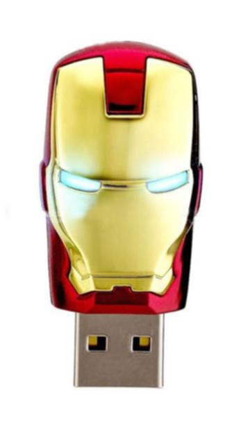 Pen Drive 8GB Homem de Ferro com LED (Retrátil) - OEM