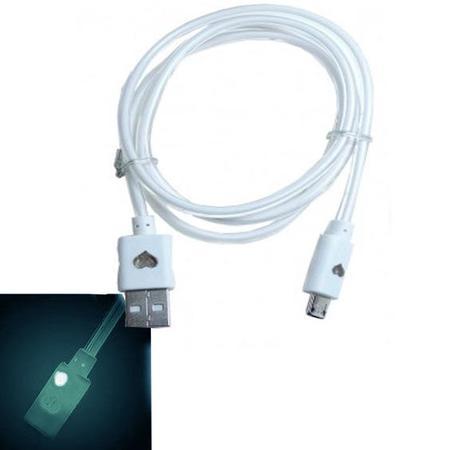 Cabo de Dados USB C/Luz Neon V8 1 Metro, Brilha no Escuro para Android Branco CB0233W - OEM