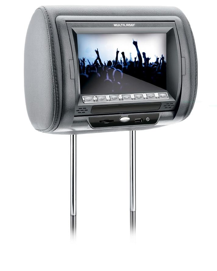 Encosto de Cabeça Automotivo com Leitor Tela TFT LCD 7 em Couro Cinza AU303 - Multilaser