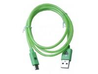 Cabo de Dados USB C/Luz Neon V8 1 Metro, Brilha no Escuro para Android Verde CB0233G - OEM