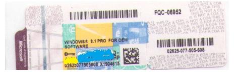 Etiqueta para Instalação Windows 8.1 Pro 64 Bits Brazilian FQC-06952 - Microsoft