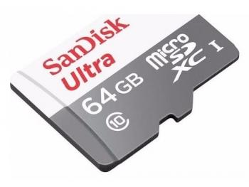 Cartão de Memória MicroSDHC UHS-I Ultra 64GB Classe 10 + Adaptador SDSQUNB-064G-GN3MA - Sandisk
