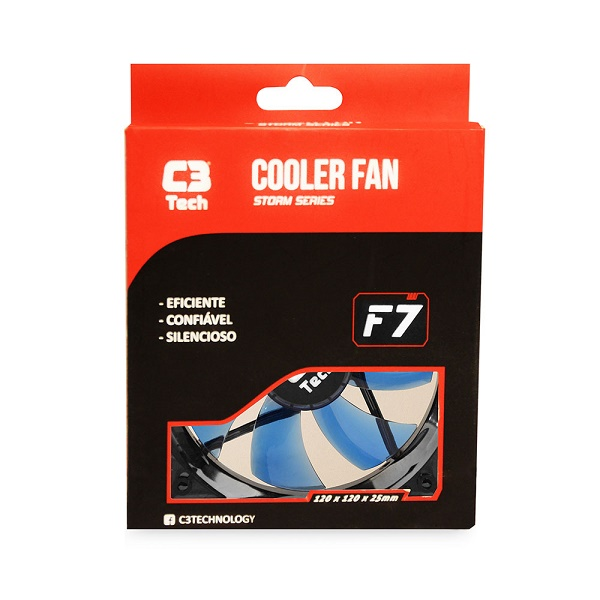 Cooler para Gabinete F7-100 BL STORM 3 Pinos 12x12x2,5 cm Led Azul - C3 Tech