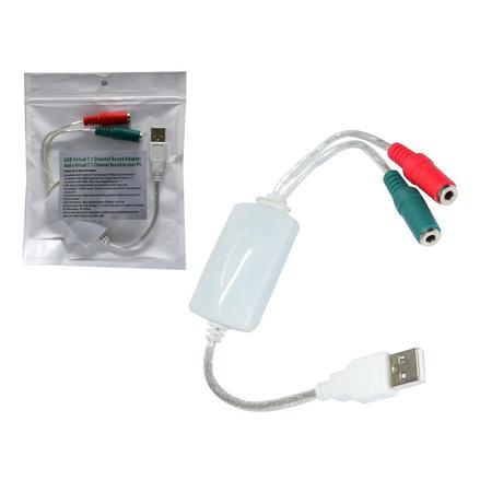 Adaptador de Som USB 7.1 USB 2.0 + 12Mbps Rabicho Som 7.1 AD0240 - OEM