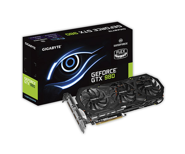 Placa de Vìdeo Geforce GTX980 4GB DDR5 256Bits WINDFORCE 3X GV-N980WF3OC-4GD - Gigabyte