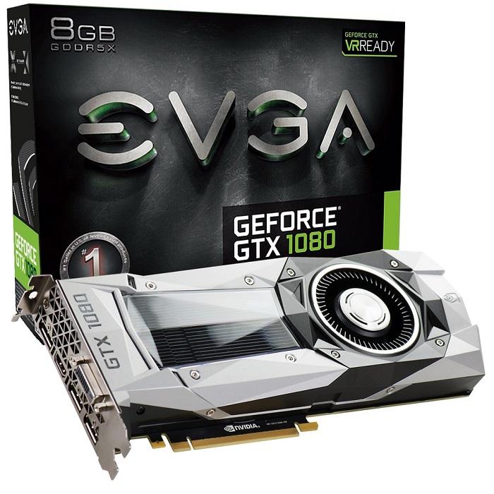 Placa de Vídeo Nvidia GeForce GTX 1080 FOUNDERS EDITION 8GB GDDR5X 256Bits 08G-P4-6180-KR - EVGA