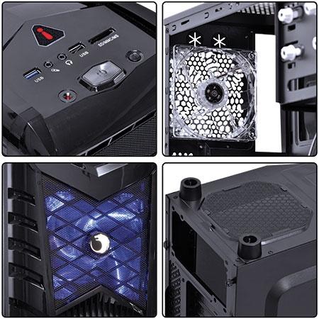 Gabinete Mid Tower Wolf grade Lateral com Fan de 20mm Led Azul WOLFPTOAZ3FSA 21491 - Pcyes