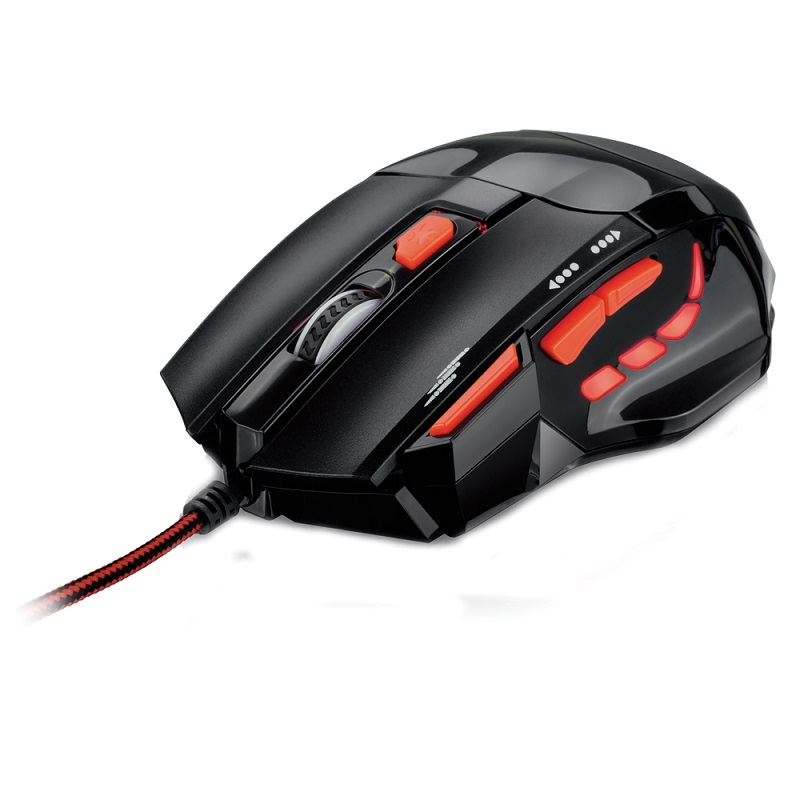 Mouse Optico XGamer Fire Button 2400DPI USB (7 Botões) Preto/Vermelho MO236 - Multilaser