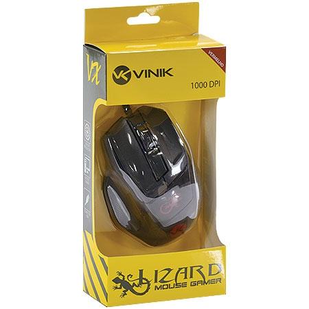 Mouse Óptico VX Gamer 1000DPI USB Lizard Vermelho 23376 - Vinik