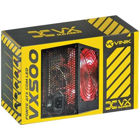 Fonte ATX 500W VX500 Gamer com Led Vermelho - Vinik