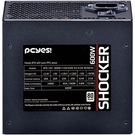 Fonte ATX 600W Shocker Series 80 Plus White (PFC Ativo) 24416 - Pcyes