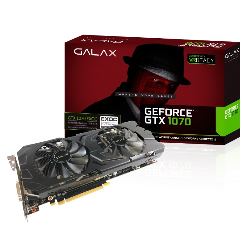 Placa de Vídeo GTX 1070 EX OC 8GB GDDR5 70NSH6DHL-4EC - Galax